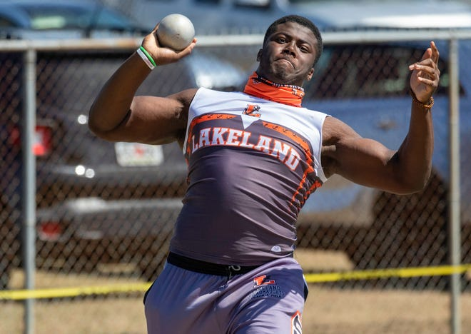 Lakeland's Gabriel Brownlow-Dindy makes his last throw in the discus on Saturday at The RIdge Championship at Forstproof High School. He won the event then went on to win the discus.