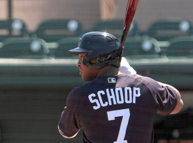 Detroit Tigers designated hitter Jonathan Schoop bats during the first inning against the Baltimore Orioles.
