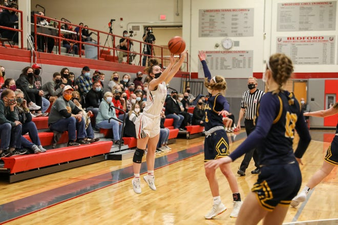 Bedford's Savanna Killinen sunk two 3-pointers Saturday against Saline to set the school career record.