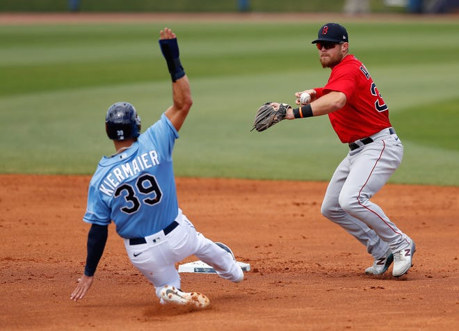 Mar 9, 2021; Port Charlotte, Florida, USA;  Boston Red Sox third baseman Christian Arroyo (39) turns a double play in the second inning during spring training at Charlotte Sports Park. Mandatory Credit: Nathan Ray Seebeck-USA TODAY Sports