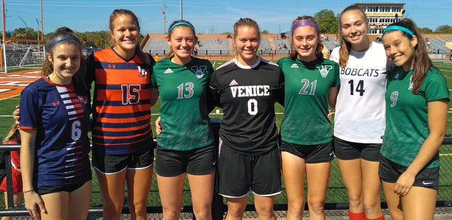 Area players from the West who played in the Florida Athletic Coaches Association girls soccer All-Star Classic this past weekend in Lakeland are Heather Squitieri of Manatee High, Lauren Raggazone of Lemon Bay, Kiki Slattery, Ashton Pennel and Eileen Solomon of Venice High, Emily Idoyoga of North Port High and Rachel Dalton of Venice. The West won both matches by a combined 17-1.