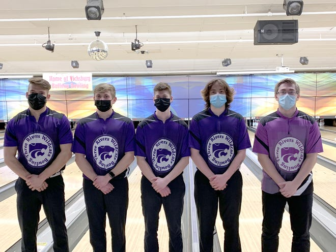Earning All-Conference honors for Three Rivers were, from left to right, Bennet Leveck (second), Ryan Nowicki (eighth), Tyler Mohney (honorable mention), Dakota Jacks (sixth) and Devin Svoboda (honorable mention).