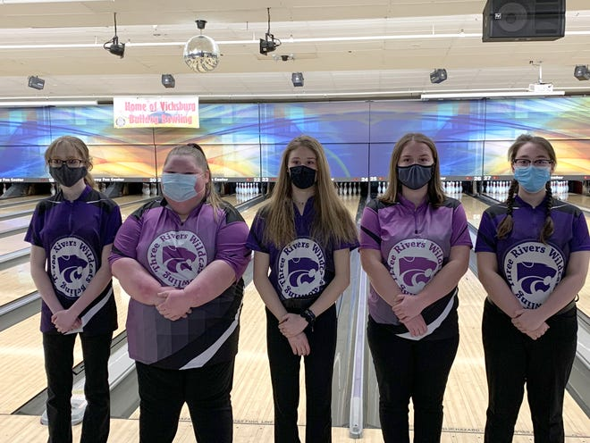 Earning All-Conference honors for the Three Rivers girls were, from left to right, Shelby Pollard (honorable mention), Carley Krauss (honorable mention), Paxtyn Gerkin (honorable mention), Brooklyn Page (honorable mention) and Anna Ives (honorable mention).