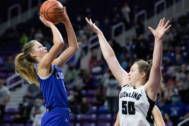 Colgan sophomore Lauren Torrance shoots the ball over Sterling. Colgan fell to Sterling 52-36 during the Class 2A State Championship at Bramlage Coliseum Saturday, March 13, 2021.