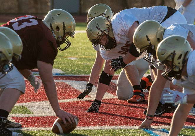 Billy Tyrrell, center, lines up during a recent Shepherd Hill football practice.