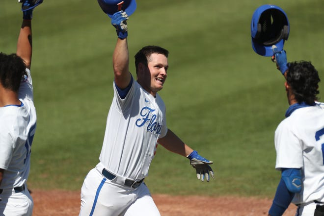 Kirby McMullen has homered in three straight games and four of the last five. On the series, the third baseman hit .385, leading the team with five hits and five RBI. [Courtesy of UAA]
