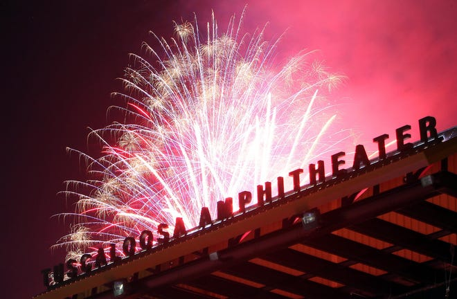 Fireworks are seen during the Celebration on the River Independence Day celebration at the Tuscaloosa Amphitheater in Tuscaloosa, Ala. on Wednesday, July 4, 2012. [Staff file photo]