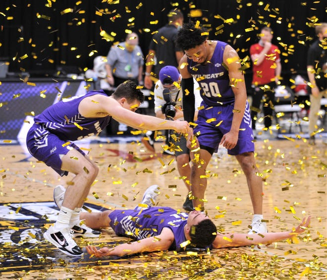 ACU players celebrate their Southland Conference tournament title as gold confetti falls from the Merrell Center ceiling.
