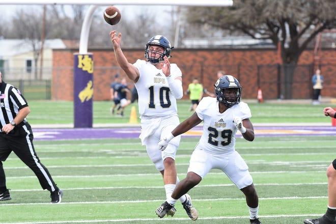 Howard Payne quarterback Landon McKinney (10) lets go of a pass during Saturday's game against Hardin-Simmons at Shelton Stadium on March 13, 2021. The Cowboys improved to 3-0 with the 41-14 win.