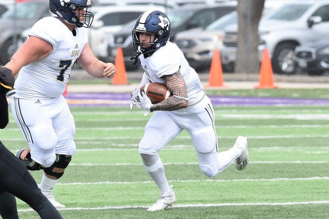 Howard Payne receiver Jake Parker (3) turns up field after making a catch in a game against Hardin-Simmons during the 2021 football season.