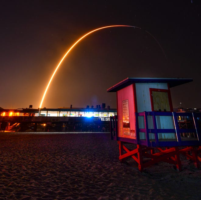 The launch of a SpaceX Falcon  9 rocket launched from Complex 39A at Kennedy Space Center lit the pre-dawn sky at 6:01 a.m. Sunday morning. The rocket was carrying Starlink satellites and landed successfully on the drone ship Of Course I Still Love You. The booster for this launch had flown on eight previous missions.