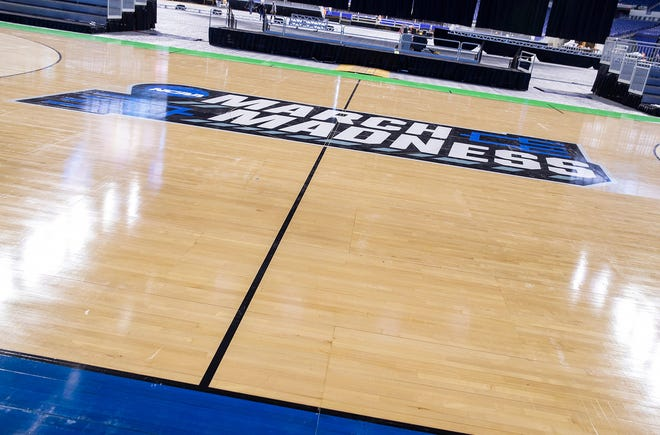 A basketball court on the north end of Lucas Oil Stadium, seen on Thursday, March 4, 2021, will be used for NCAA March Madness tournament games in Indianapolis. A second court on the opposite end of the stadium will be used for Big Ten tournament games then changed over for March Madness use as well.  Ncaa March Madness And Big Ten Basketball Courts Inside Lucas Oil Stadium In Indianapolis March 4 2021