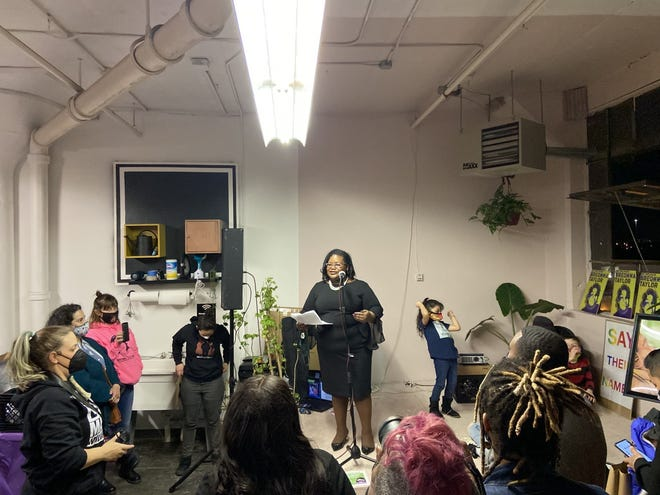 State Rep. Lakeshia Myers speaks in front of several dozen activists at a National Breonna Taylor Day event at The Space MKE, 2018 S. 1st St. Myers asked for their support of her bill that would ban law enforcement from using no-knock warrants.