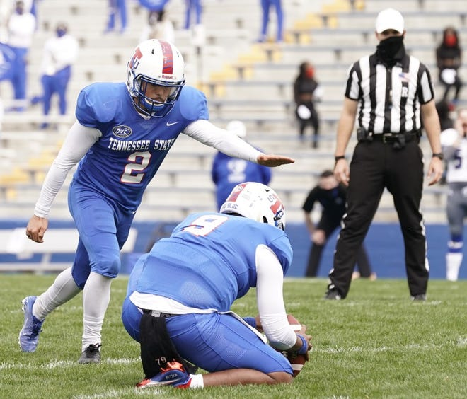Antonio Zita lines up a field goal in Tennessee State's win Sunday over Eastern Illinois.