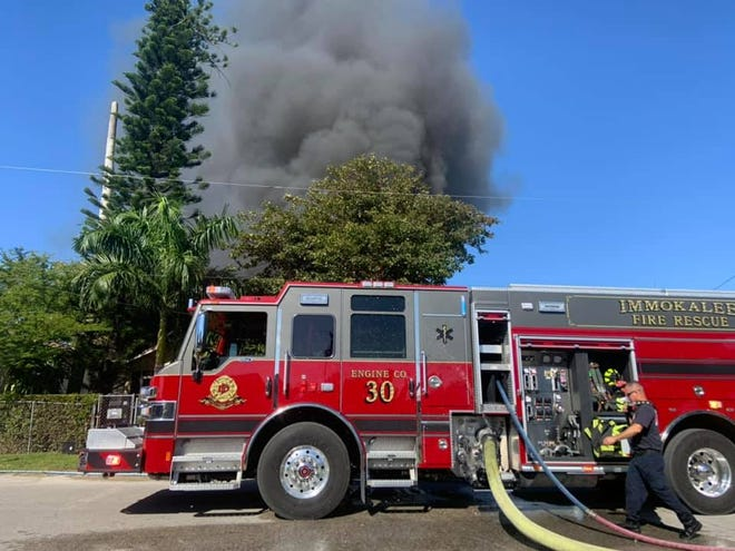Three Immokalee homes on Second Street were damaged in a fire that left 17 people affected, according to the Immokalee Fire Control District.