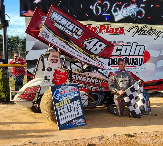 Danny Dietrich is shown after his win on Saturday at Lincoln Speedway.