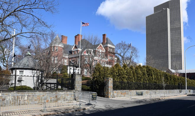 Exterior view of the New York state Executive Mansion, Sunday, March 14, 2021, in Albany, N.Y. Members of New York's congressional delegation have been calling on Gov. Andrew Cuomo to resign in the wake of mounting allegations of sexual harassment and an allegation of groping, as well as scrutiny over his administration's reporting of COVID-19 deaths among nursing home residents.