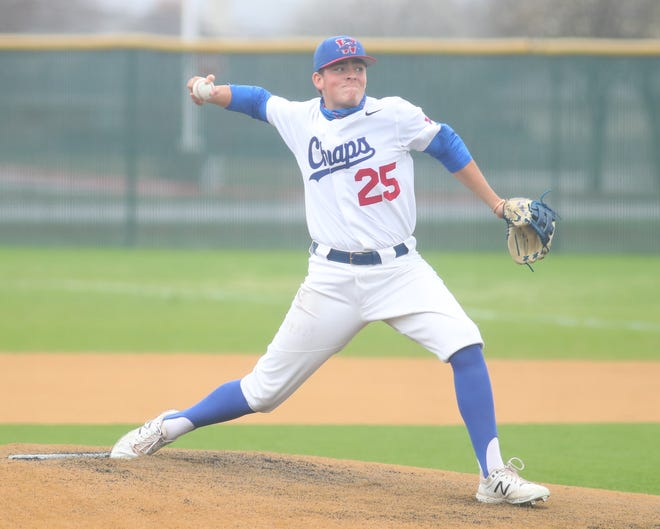 Westlake's starting pitcher Magnus Nelson deals to the plate during the Chaparrals' 17-2 win over Pflugerville Saturday at Hutto in the CenTex baseball tournament. Nelson pitched a complete game in the victory