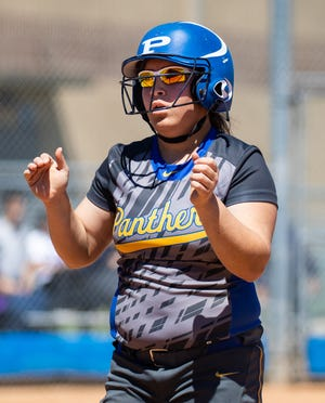Pflugerville catcher Elia Palomo picked two runners off first base in last week's 2-1 win over Elgin. With the victory, the Panthers remain undefeated in District 18-5A play.