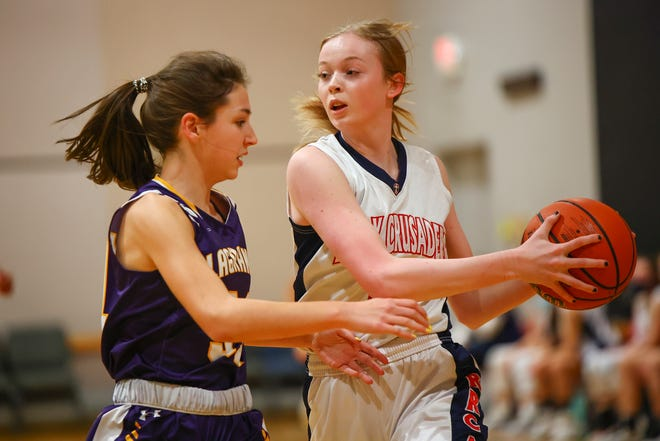 Round Rock Christian forward Annie Mikeska, keeping a rebound away from a La Grange player earlier in the season, had 10 points in the Crusaders' semifinal loss to Lutheran North of Houston in the TAPPS Class 3A state semifinal. Round Rock Christian finished the season with a 15-4 record.