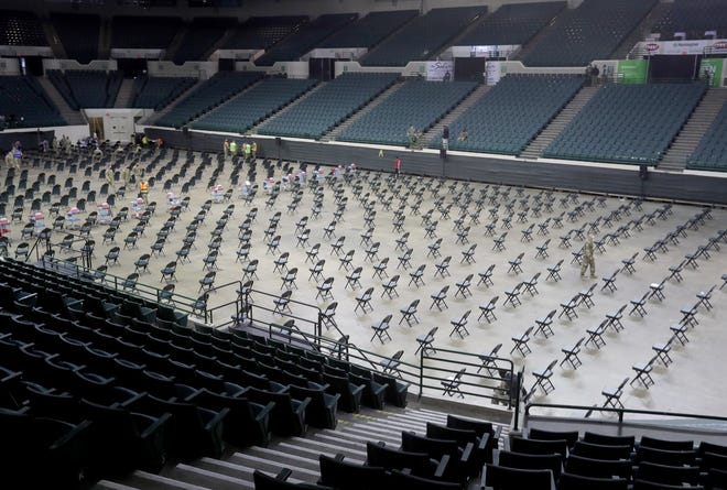 Cleveland State University's Wolstein Center is set up with 480 seats on the floor to be used as a FEMA mass vaccination site on Monday, March 15, 2021 in Cleveland, Ohio.