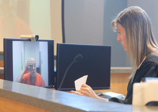 Stow Municipal Court Judge Lisa Coates talks with James Zastawnik during a video arraignment in May 2020. Zastawnik was charged with the 1987 murder of Barbara Blatnik. He died of cancer before his trial.