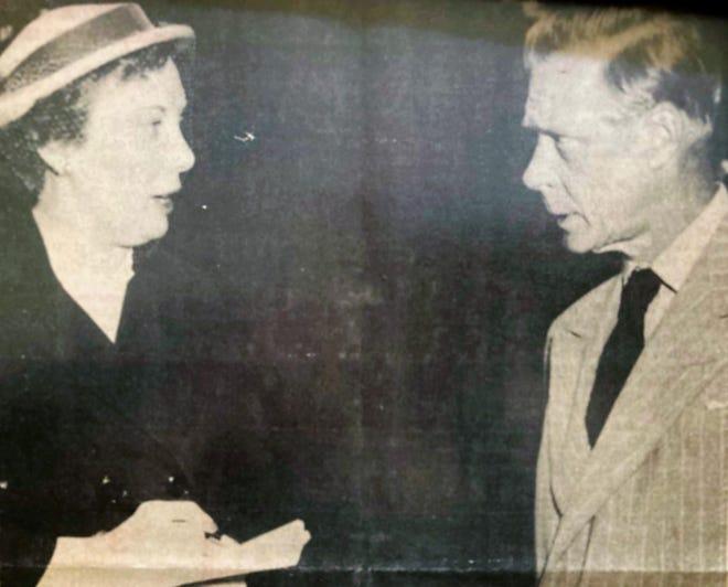 Augusta reporter Margaret Twiggs interviews the duke of Windsor in 1952.