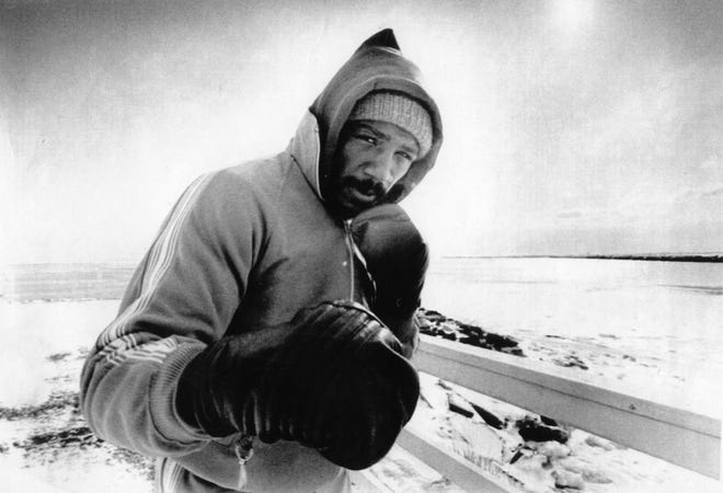 Marvelous Marvin Hagler at his training camp in Provincetown in January 1981.