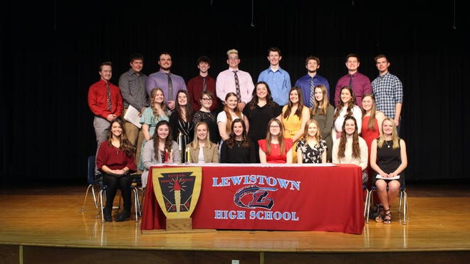 Newly inducted members of the Lewistown High School National Honor Society were joined by the 2020 inductees in a ceremony held Wednesday, March 10 in the Shirley Shannon Auditorium. Pictured, front from the left: Kennedy Sidwell*, Macy Mikulich*, Adeline Ogden*, Grace Evans*, Aleah Grove*, Brooke Hampton*, Lydia Curless*, Kyleigh Schrock*.  Middle-Avery Smith, Elizabeth Reed, Odessa Grove, Kerrigan Lane, Bridgette Evans, Brenna Clark, Kate Heffren, Sydnee Duffield, Lydia Cripe.  Max Johnson, Dalton Yurkovich*, Jacob Warren*, John Ross Hess*, Dane Winkler*, Elliot Dalpiaz*, Drake Herrick*, Clay Beekman*, Gage Wallick*. * new member