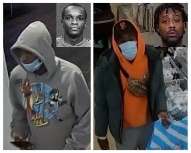 Police say Anthony Deshawn Truss Jr., in the mugshot shown at left, and Levon Somerville, in the mugshot shown at right, were caught on surveillance camera during the March 3 shooting at Polaris Fashion Place.