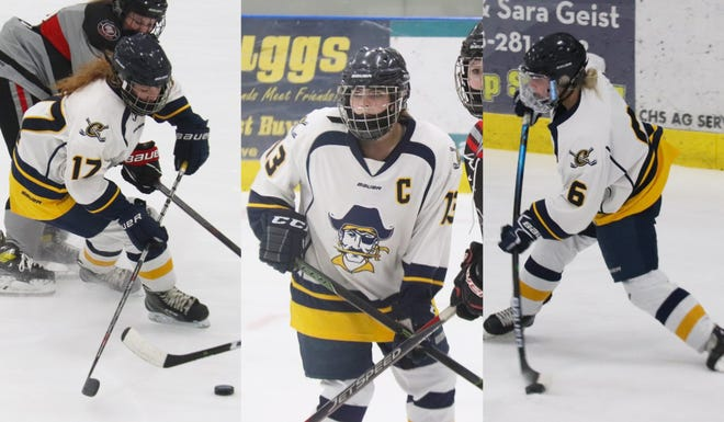 Nora Peterson, Catherine Tiedemann and Kenze Epema are the three seniors on the Crookston girls' hockey team.