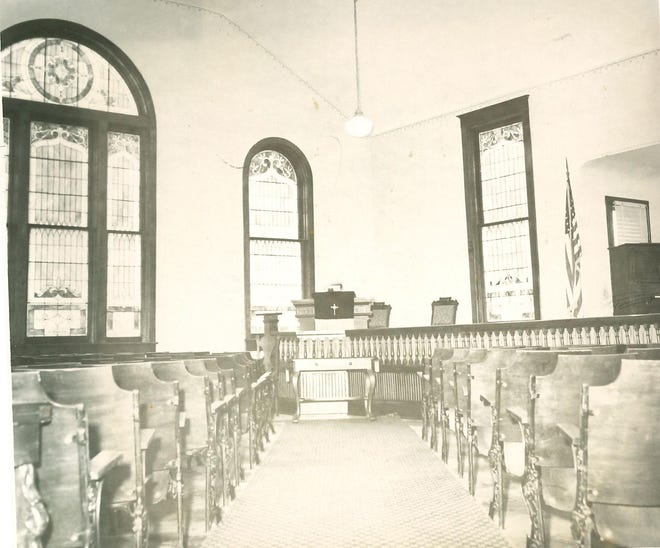 The interior of the First Presbyterian Church of Deerfield is pictured as it looked in 1959. Originally organized in 1853 and renamed as the First Presbyterian Church of Deerfield in 1858, the church edifice was erected in 1865.