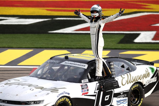 AJ Allmendinger, driver of the No. 16 Ellsworth Advisors Chevrolet, celebrates after winning the NASCAR Xfinity Series Alsco Uniforms 300 at The Bullring at Las Vegas Motor Speedway on March 6 in Las Vegas, Nevada. (Photo by Abbie Parr/Getty Images)