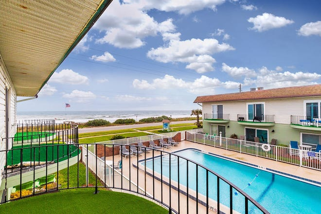 The third unit back from Ocean Shore Boulevard, this Ormond Beach condominium is located opposite the pool and offers beautiful ocean views from the balcony.