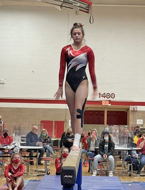 Coldwater's Layla Schoch posted a personal best score on the Balance Beam in the Cardinals win over Tecumseh on Saturday.