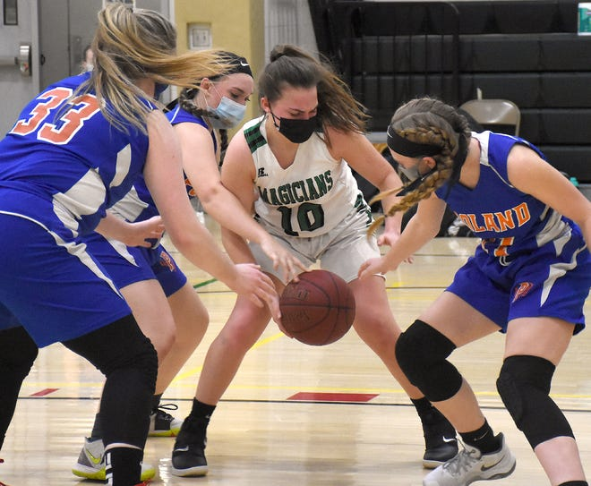 A trio of Poland defenders try to knock the ball away from Herkimer Magician Marion Leskovar (10) during the first half Friday.
