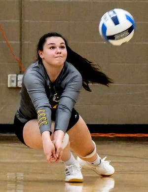 Garden City Community College's Victoria Gehret dives to the floor to dig an Independence serve Thursday at Perryman Athletic Complex.  GCCC defeated Butler on the road in five sets on Friday.