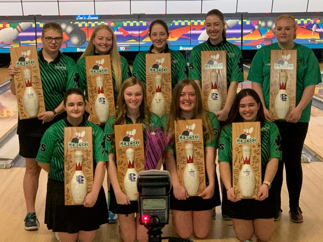 Geneseo Girls' Bowling Seniors being celebrated March 9 on Senior Night at Lee's Lanes in Geneseo. 1st row (l to r) Jenna Morrone, Jenah Hart, Breann Keller, Miranda Roemer. 2nd row (l to r) Delaney Fouts, Tricia Elden, Emma Dunker, Olivia Mosbarger, Bailey Riley.