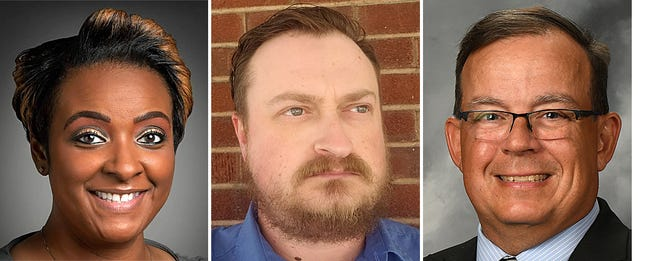 From left, Pamella Bess-Tabb, Tim Gray and Rod Scherpe are vying for two seats from Galesburg Township on the Galesburg District 205 Board of Education.