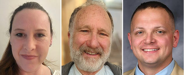 From left, Tera Boettcher, Maury Lyon and Nicholas Walters are vying for two seats from outside Galesburg Township on the Galesburg District 205 Board of Education.