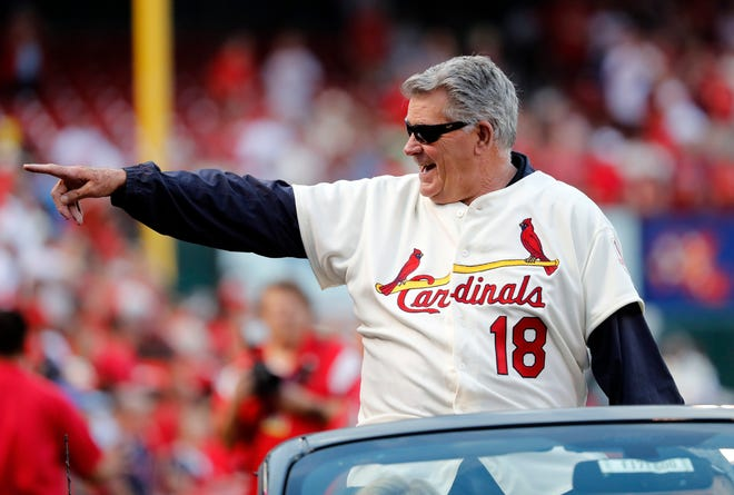 Mike Shannon, a member of the St. Louis Cardinals' 1967 World Series championship team and the Cards' radio voice, takes part in a ceremony honoring the 50th anniversary of the victory before the start of a game between the St. Louis Cardinals and the Boston Red Sox Wednesday, May 17, 2017, in St. Louis.