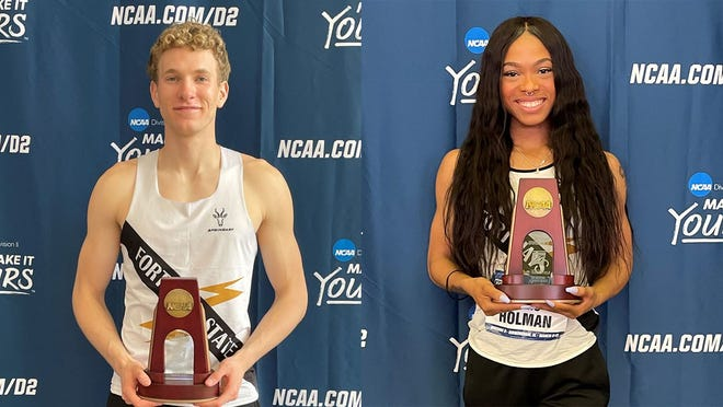 FHSU track and field athletes Ryan Stanley and Lyric Holman took home All-American honors at the NCAA Division II national indoor meet last weekend.
