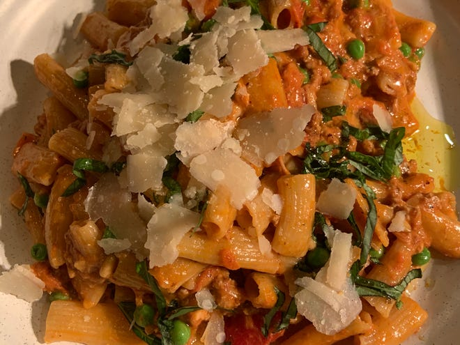 One of the many pasta dishes made by Chris Perkey at Osteria Rossa in Grand Rapids. Perkey will open a second restaurant, Taverna Rossi, in Saugatuck on Tuesday, April 6.