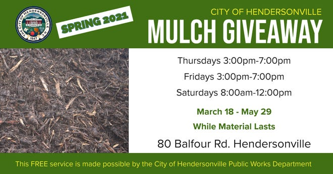Hendersonville's annual mulch giveaway program begins Thursday, March 18.
