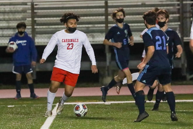 Jacksonville's Moises Navar looks to pass the ball in a game against Swansboro earlier this season. [Tina Brooks]