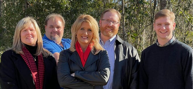 Newly elected executive board for the Onslow County Republican Party. From left: Lori Ready-Digiovanni (treasurer), Josh Foley (assistant treasurer), Melinda Highers (chairwoman), Bob Roupe (vice-chair), Peyton Foster (secretary).