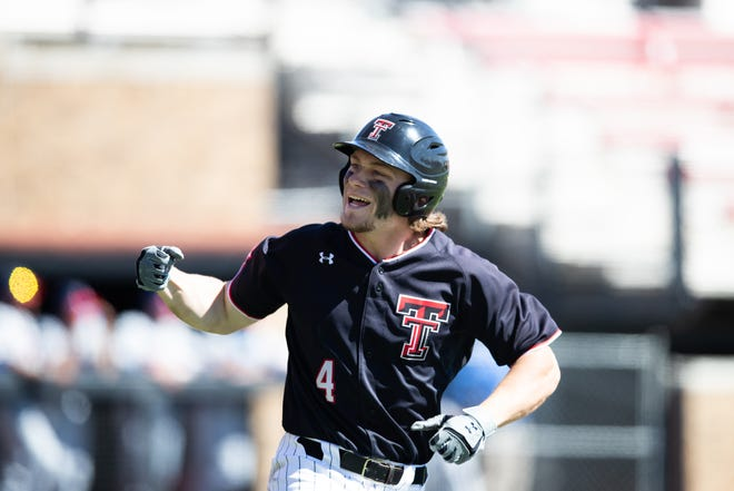 Texas Tech right fielder Dru Baker (4) on Monday was named the Big 12 baseball player of the week for the second week in a row.