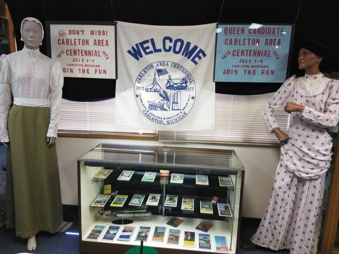 The Carleton Historical Society Museum has reopened to the public. This photo, provided when the museum opened in 2019, features a display about the village's Centennial celebration in 1972.