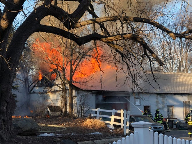 A large garage at 276 Williams St. in Marlborough sustained heavy damage after a fire on Saturday afternoon.