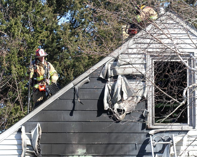 Firefighters battle a blaze at 15 King Road in Middletown on Monday, March 15, 2021.